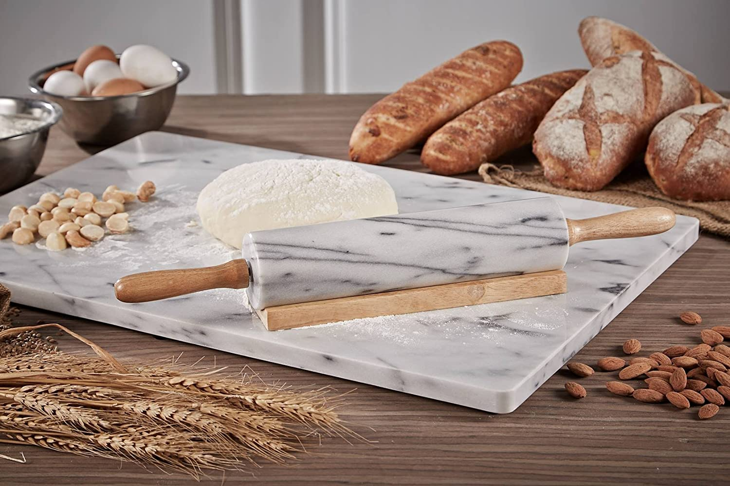 Premium Quality JEmarble Adjustable Rolling Pin with Silicone Guide Rings