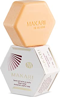 Makari Classic Sulfur Soap 7.0 oz – Acne-Fighting Bar Soap for Face & Body – Moisturizing Cleanser Combats Acne Blemishes, Clogged Pores, Oiliness & Irritation