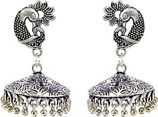c661bfa25 Fresh Vibes Conical German Silver Oxidised Peacock Jhumki Earrings for  Women - Ethnic Black Metal Fancy