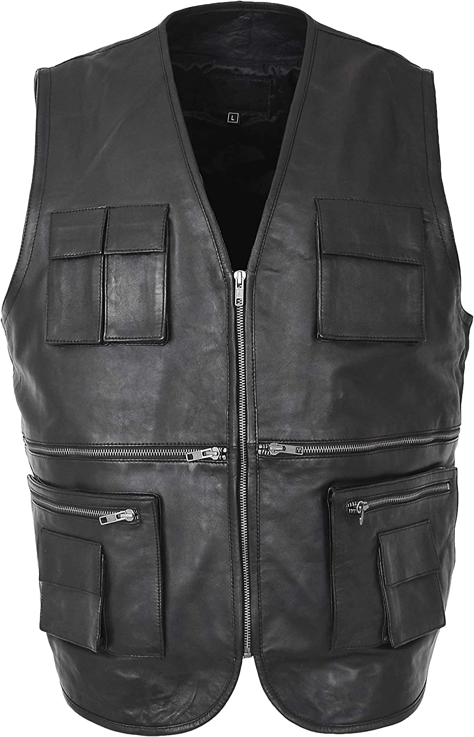 Mens Real Leather Waistcoat Fishing Hiking Outdoor Hunting Vest Gary Black