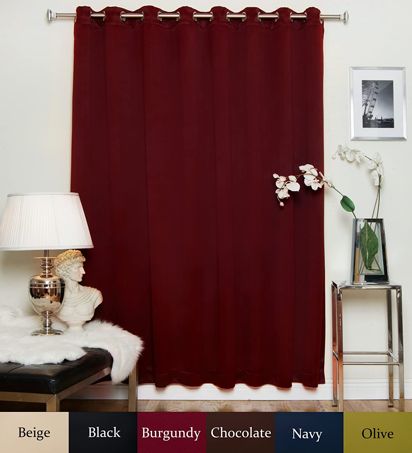 Blackout Curtain Burgundy Wide Width Nickel Grommet Top Thermal Insulated 100 Inch Wide by 108 Inch Long Panel