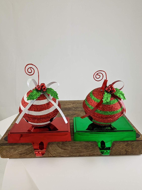 Gerson Jingle Bell Glitter Christmas Stocking Holders - Set of 2