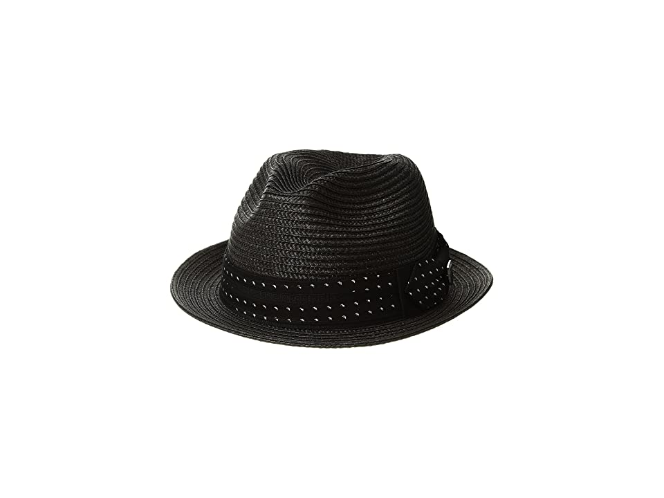 98c550ee77743 Stacy Adams Poly Braid Pinch Front Fedora with Fancy Bow (Black) Caps