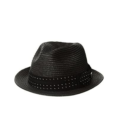 Stacy Adams Poly Braid Pinch Front Fedora with Fancy Bow (Black) Caps