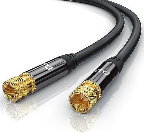 CSL-Computer 0,5m Cable de Antena Sat - Premium Cable de satélite HDTV - Cable coaxial - Conector F a Conector F - HDTV Full HD - Carcasa metálica - ...