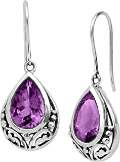 Thistle' Natural Amethyst Drop Earrings in Sterling Silver