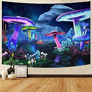 Waykingo Trippy Mushroom Tapestry Men Wall Tapestries for Bedroom Aesthetic Tapestry,Cute Tapestry Wall Hanging,Cool Tapestry for Teen Room Dorm Decor, Funny Tapestry Trippy