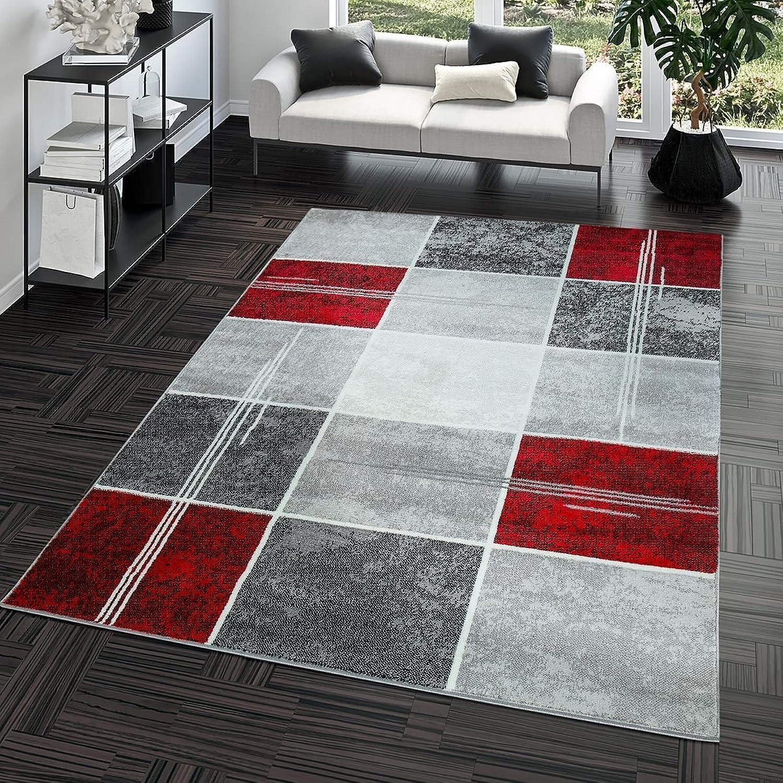Teppich Günstig Karo Design Modern Wohnzimmerteppich Grau Rot Top Preis, Gre 190x280 cm