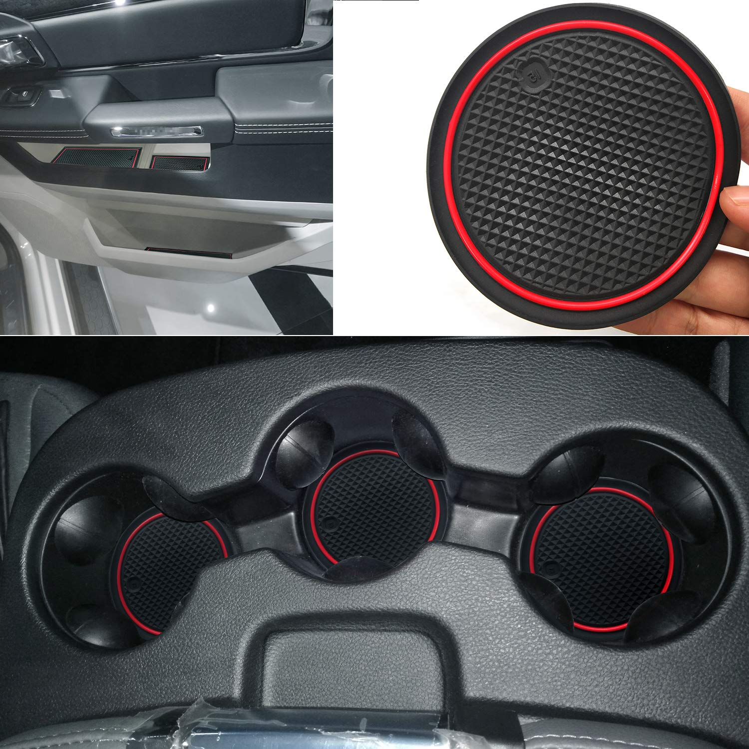 1 PCS Auovo Dashboard Mat Liner for Dodge Ram Pickup 1500 2500 3500 2011-2018 Interior Accessories Car Dash Trim Rubber Pad Cover Soft Tray Red Trim