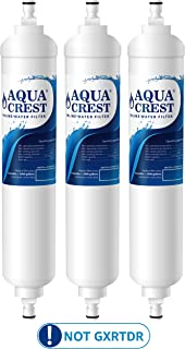 AQUA CREST GXRTQR Inline Water Filter, Carbon Block Media Ensures 99% Chlorine Reduction, Replacement for GE GXRTQR, GXRTQ System, Also Removes Heavy Metals and More (Pack of 3)