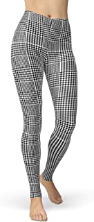 Women's Checkered Plaid Printed Leggings Stretchy Brushed Buttery Soft Tights