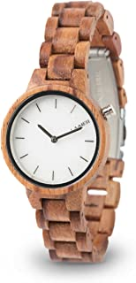 LAiMER Women's Wooden Watch MARMO Rose - Wrist Watch Made of Natural Rose Wood and a dial consisting of South Tyrolean Marble