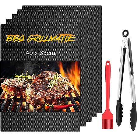 mixigoo Tapis de Cuisson, Set de 5 Tapis de Grill pour Barbecue et Four, Anti-adhérent Réutilisable Feuilles de Cuisson 40 x 33 cm BBQ et Feuilles pour Les Barbecue à gaz Charbon ou électriques