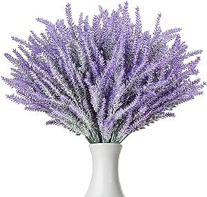 Ozera 12 Bundle Artificial Flowers Fake Lavender Plant, Real Touch with Lavender Flowers Stems Bouquet for Office Wedding Garden Party Lavender Home Decor (Purple)