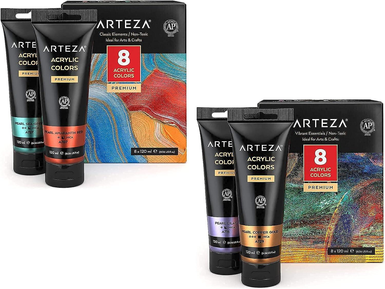 Seasonal Wrap Introduction Arteza Metallic Acrylic Max 46% OFF Paint Set of 8 Classic and Elements