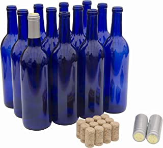North Mountain Supply 750ml Cobalt Blue Glass Bordeaux Wine Bottle Flat-Bottomed Cork Finish - with #8 Premium Natural Corks & Silver PVC Shrink Capsules - Case of 12