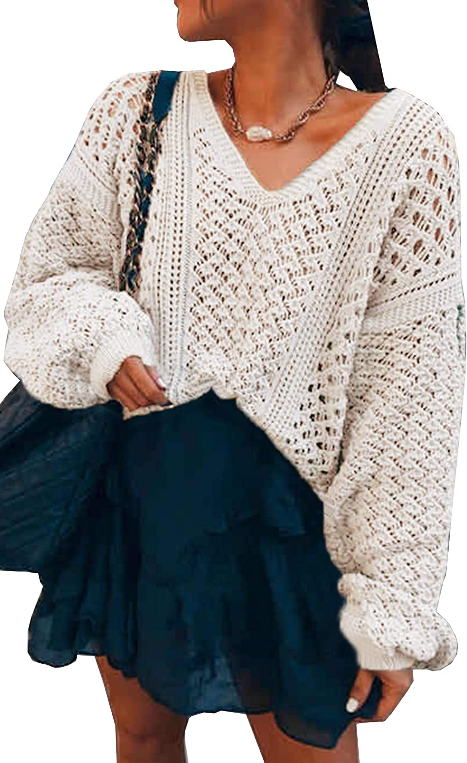 Theenkoln Women's Casual Sweaters Off Shoulder Solid Sexy V-Neck Crochet Knitted Pullover Batwing Sleeve Loose Tops