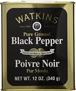 Watkins All Natural Gourmet Spice Tin, Ground Black Pepper, 12 Ounce