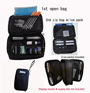 Double Bag Diabetic Travel Organizer Cooler Bag-for Insulin,Supply Kits,W2x/ice Pack Included - (Black)
