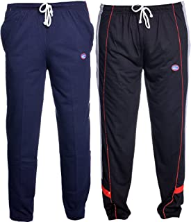 VIMAL JONNEY Navy Blue and Black Men's Cotton Trackpants (Pack of 2)-D1ND7B-P
