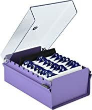 Acrimet 3 X 5 Card File Holder Organizer Metal Base Heavy Duty (Purple Color with Crystal Plastic Lid Cover)
