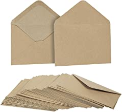 50 Pieces Kraft Envelopes - 4.6 x 6.3 Inches Contour Flap Envelopes - Perfect for Weddings, Graduations, Baby Showers - 120 GSM