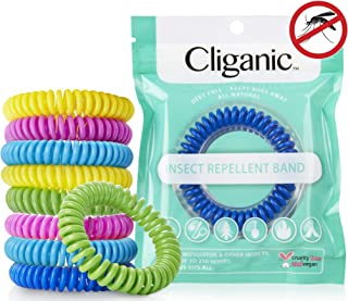 Cliganic 10 Pack Mosquito Repellent Bracelets, 100% Natural | Bug & Insect Protection, Waterproof DEET-Free Band | Pest Control for Kids & Adults