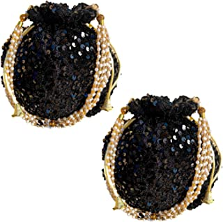 Shoptory India Sequined Handcrafted Potli Bags Combo for Women