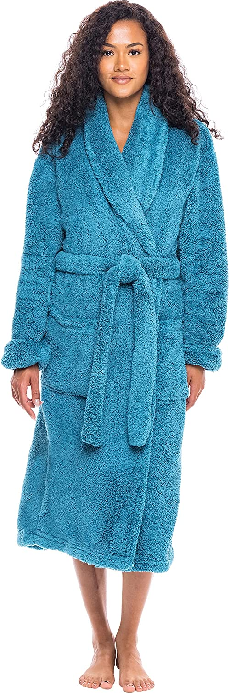 Alexander Del Rossa Women's Plush Fleece Robe, Warm Long Hair Shaggy Bathrobe