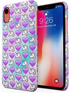 Cute Heart & Unicorn Emoji Pattern Hard Plastic Phone Case for iPhone Xr