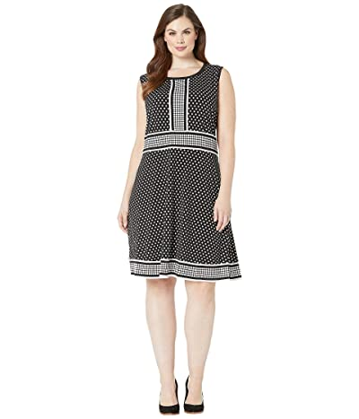 MICHAEL Michael Kors Plus Size Simple Dot Sleeveless Border Dress (Black/White) Women