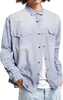 Hat and Beyond Mens Long Sleeve Denim Shirt Slim Fit Casual Vintage Chambray Long Sleeve Button Down Shirt with Pocket