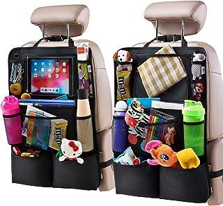 منظم المقعد الخلفي للسيارة مع حامل الجهاز اللوحي ومنظم المقعد الخلفي للسيارة وإكسسوارات السفر للأطفال مع 9 جيوب تخزين