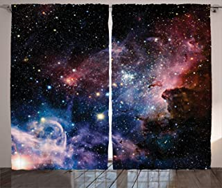 Ambesonne Space Decorations Collection, Stars Nebula Colorful Space Galaxy Astronomic Picture Print, Living Room Bedroom Curtain 2 Panels Set, 108 X 84 Inches, Navy Pink