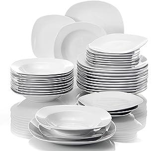 MALACASA, Série Elisa, 36 Pcs Service de Table Porcelaine, 6 * [Assiettes Plates], [Assiettes à Dessert], [Assiettes Creus...