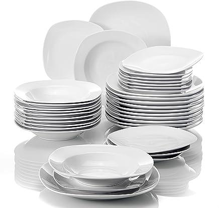 Preisvergleich für MALACASA, Serie Elisa, 36 teilig Set Porzellan Tafelservice Kombiservice Geschirrset, 12 Dessertteller, 12 Suppenteller und 12 Speiseteller für 12 Personen