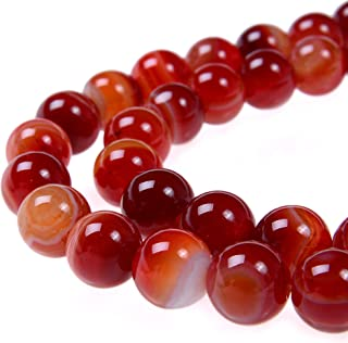 PLTbeads 8mm Red Carnelian Stripe Agate Smooth Round Shape Natural Gemstone Loose Beads For 1 Strand per Bag Approxi 15.5 inch 48-50pcs Jewelry Making