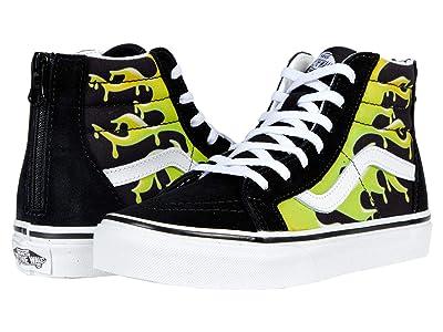 Vans Kids SK8-Hi Zip (Big Kid) ((Slime Flame) Black/True White) Boys Shoes