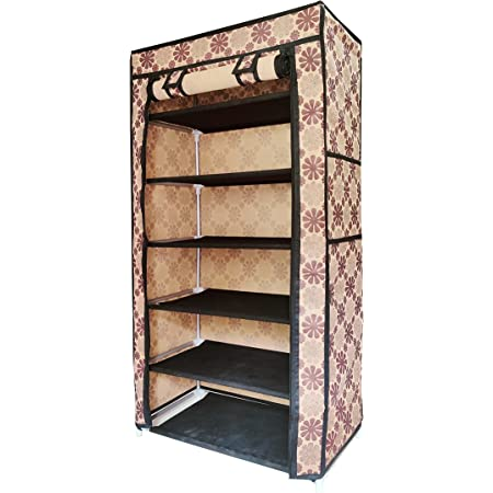 Philoshop collapsible shoe rack for home shoe stand organizer footwears slippers and boots chappal stand flower print 6 layer (Brown)