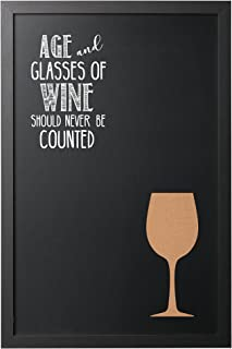 MasterVision Vino Combo Quote Wallmount Chalkboard, Black Frame, 16 x 24 Inches (PM0327168)