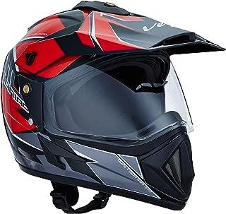 Vega Off Road D/V Mud Full Face Helmet (Black and Red, M)