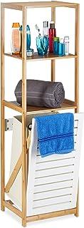 Relaxdays Estantería de Baño con Cesto para Colada, Beige-Blanco, Bambú-Tela, 130 x 37 x 33 cm