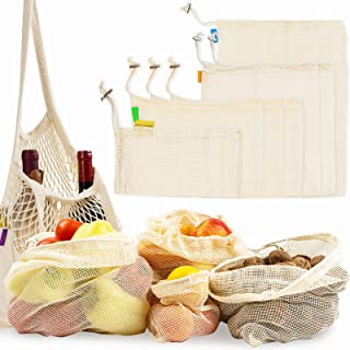 Reusable Produce Bags for Daily Shopping - Different Sized Cotton Mesh Bags and Shoulder Bag with Covers for Bottles - Mul...