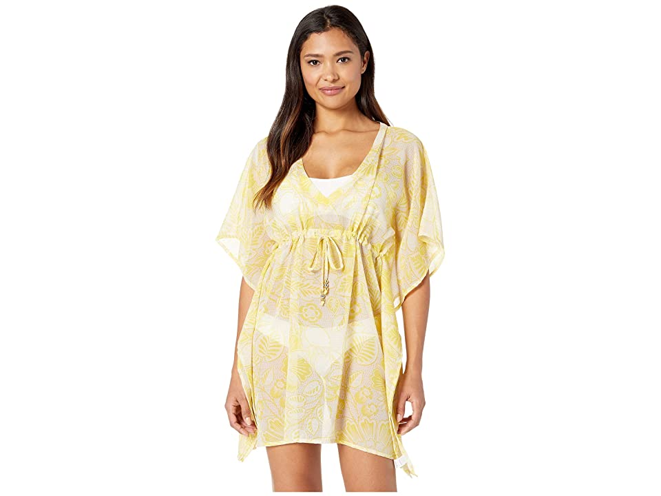 Echo Design Bicolor Floral Silk Butterfly Cover-Up (Lemon) Women's Swimwear, Yellow