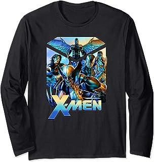Marvel X-Men Group Action Shot Blue Gradient Manche Longue