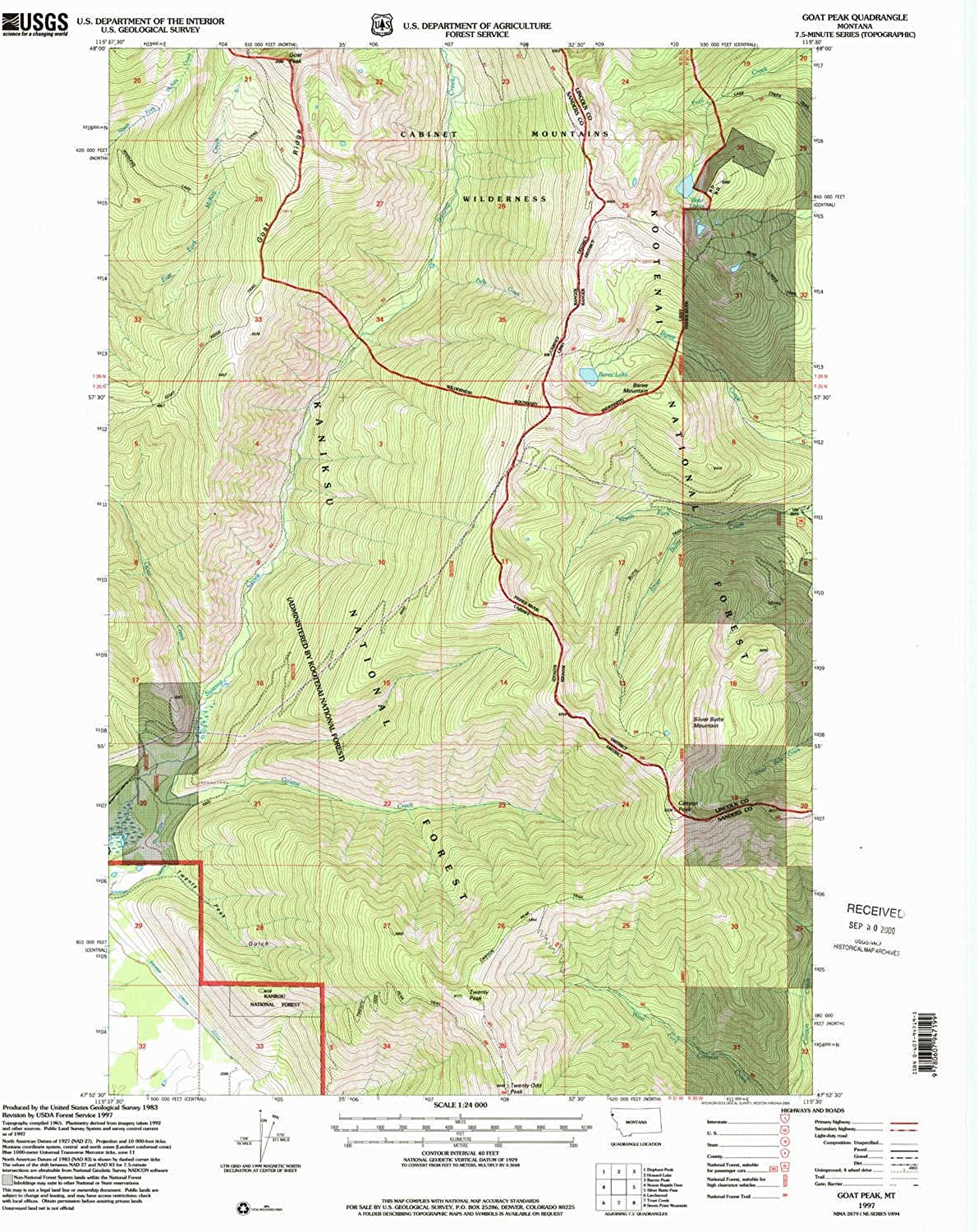 Goat Peak MT topo map, 1 24000 Scale, 7.5 X 7.5 Minute, Historical, 1997, Updated 2000, 27 x 22.1 in