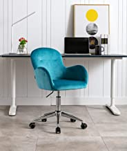 Home Office Chair,Velvet Shell Accent Chair Desk Chair with Metal Base,Modern Adjustable Swivel Arm Chair Upholstered Vani...