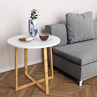 BAMEOS Side Table Modern Nightstand Round Side End Accent Coffee Table for Living Room Bedroom Balcony Family and Office