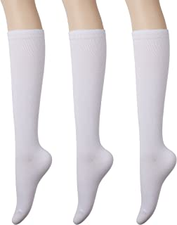 Women's Cotton Knee High Socks - Casual Solid & Triple Stripe Colors Fashion Socks 3 Pairs (Women's Shoe Size 5-9)