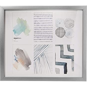 AmazonBasics 6 Photo Collage Picture Frame - 10 x 15 cm / 4 x 6 Display, Nickel